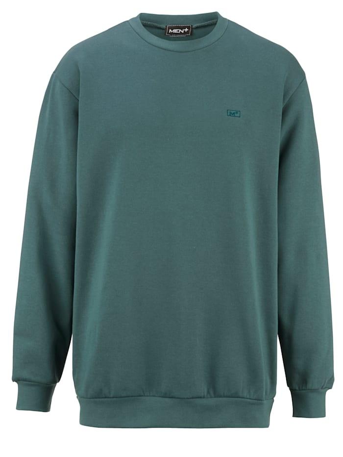 Men Plus Sweatshirt mit kleiner Stickerei, Salbeigrün