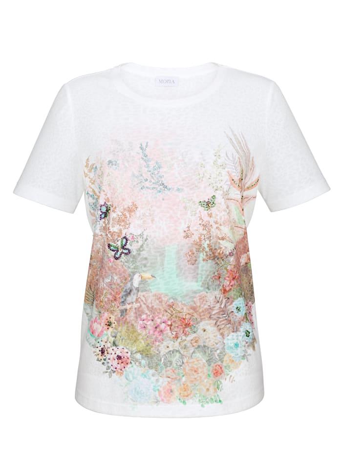 T-shirt avec pierres fantaisie multicolores