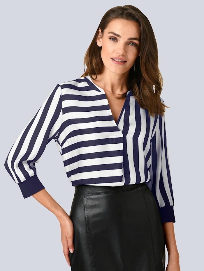 Alba Moda Bluse in modischem Streifendessin, Marineblau/Off-white