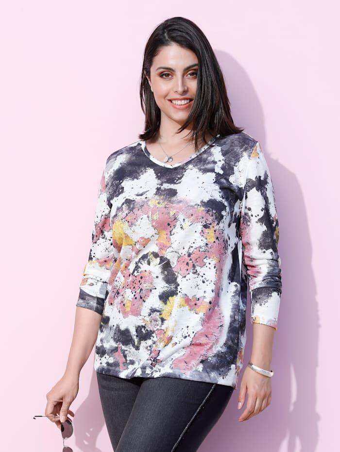 MIAMODA Shirt in batiklook, Wit/Multicolor