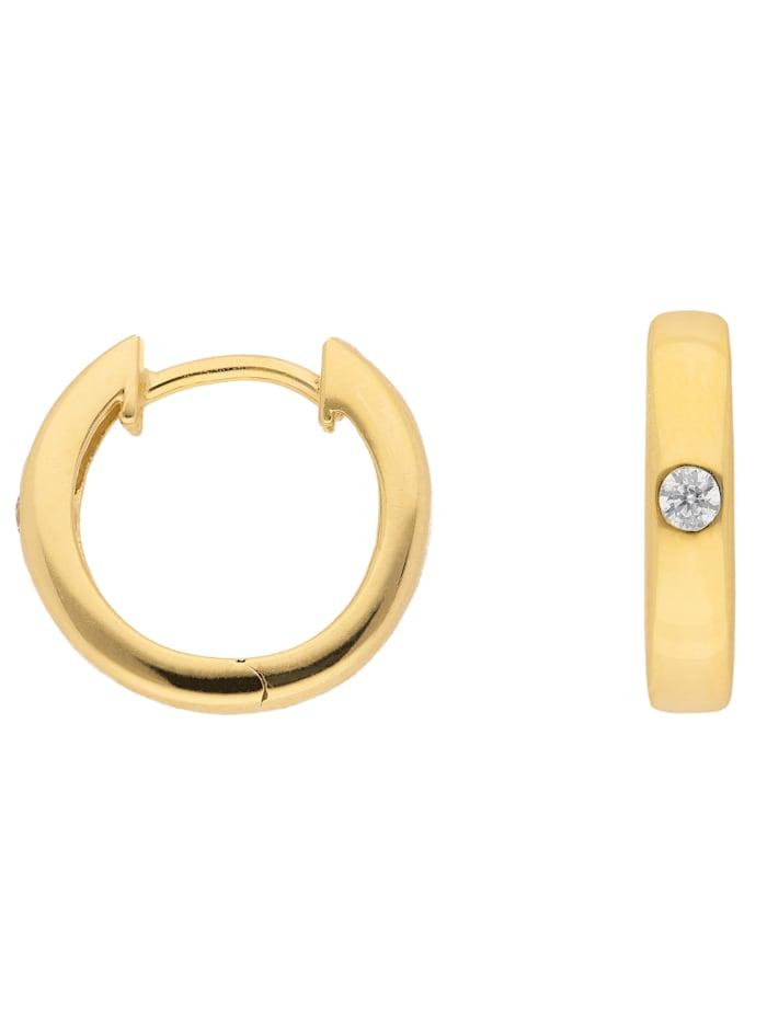 1001 Diamonds 1001 Diamonds Damen Goldschmuck 333 Gold Ohrringe / Creolen mit Zirkonia Ø 13,6 mm, gold