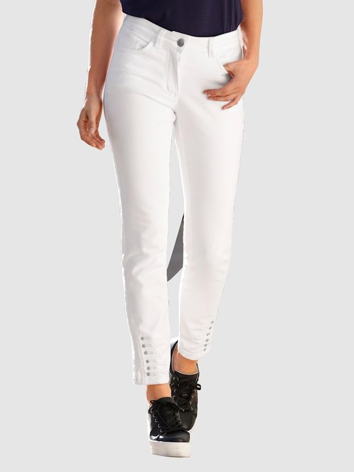 Laura Kent Jeans met siersteentjes aan de zoom, Wit