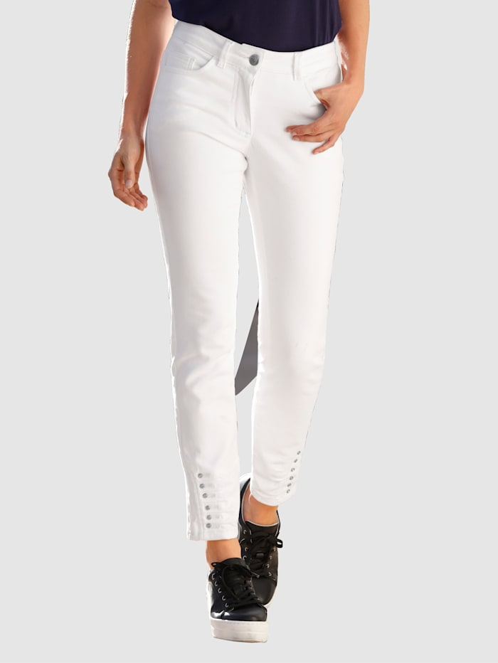 Laura Kent Jeans mit Ziersteinen am Saum, Weiß