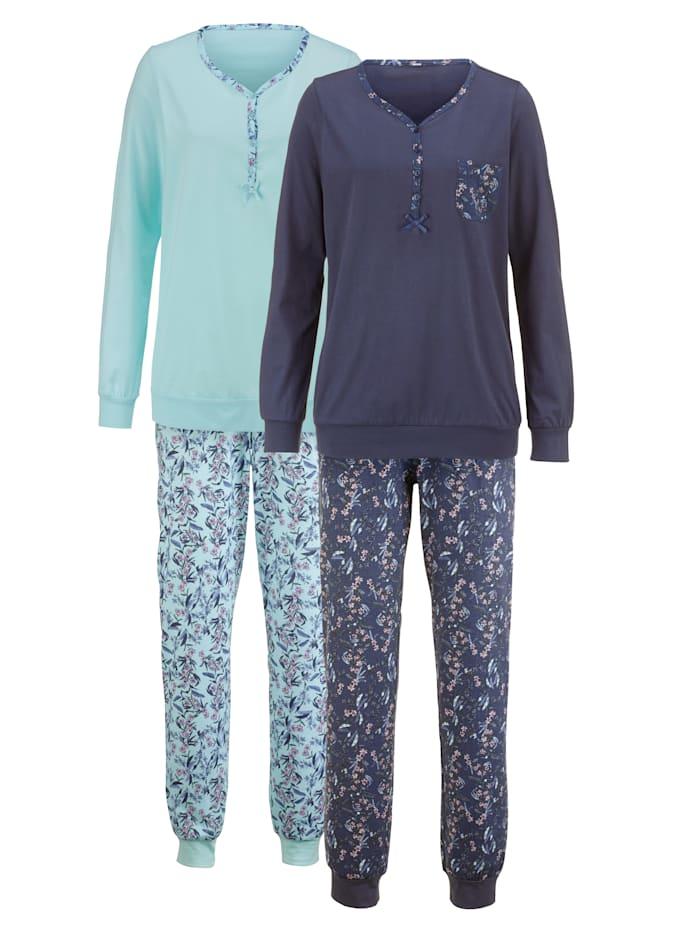 Harmony Doppelpack Schlafanzug mit bedruckter Brusttasche, Blau/Hellblau