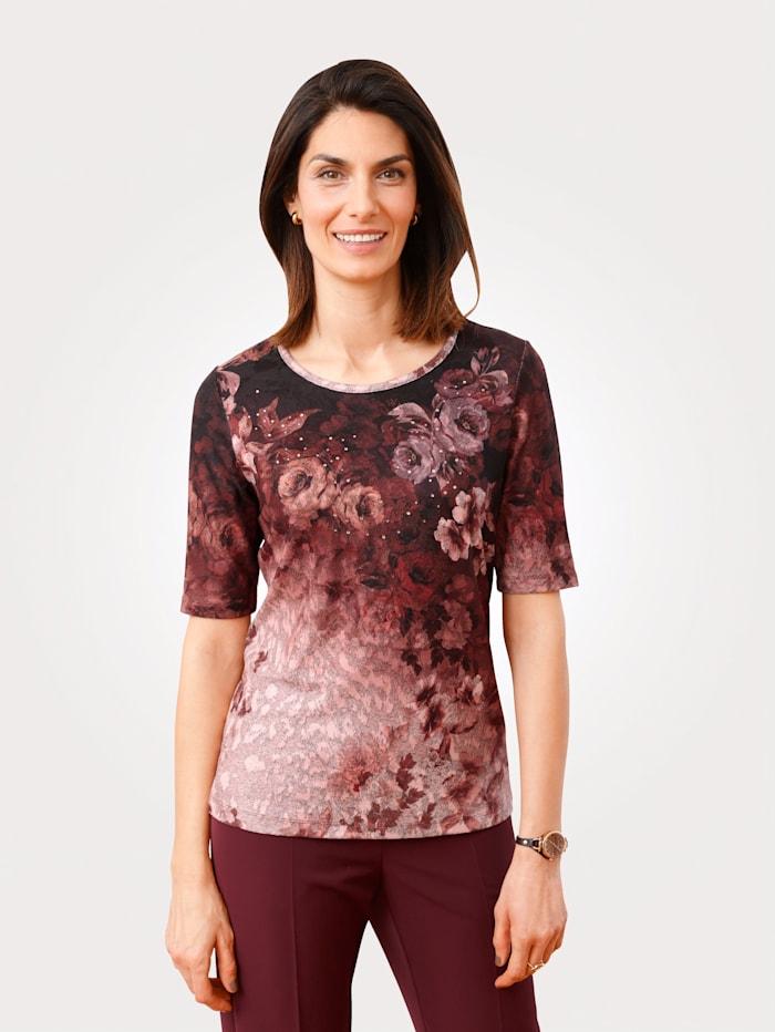 MONA Shirt mit Strassteindekoration, Beere/Rosé