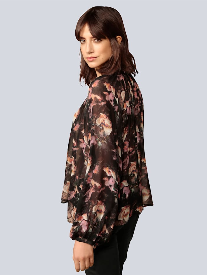 Bluse mit stilisiertem Blumendruck