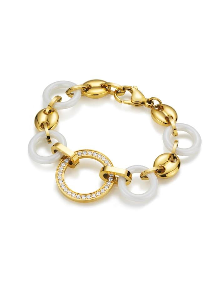 Jacques Charrel Armband mit weißen Keramik-Ringen und weißen Zirkonia, Gold