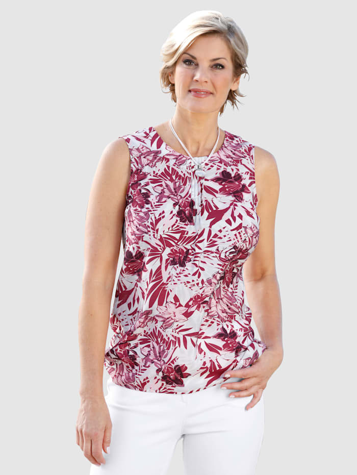 Paola Top mit floralem Muster, Weiß/Beere/Hellrosa