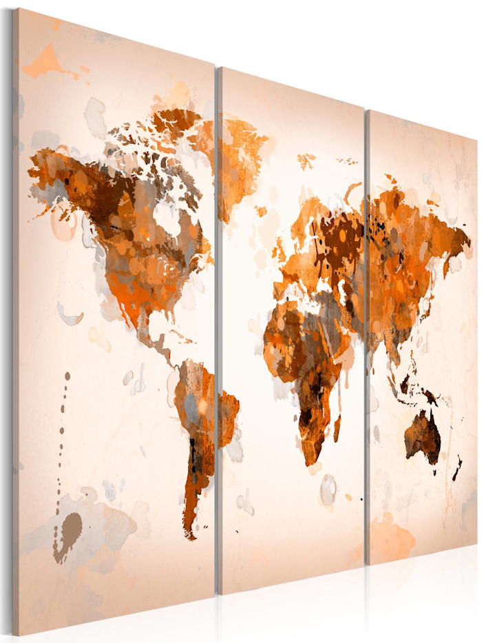 artgeist Wandbild Map of the World - Desert storm - triptych, Braun,Creme,Orange