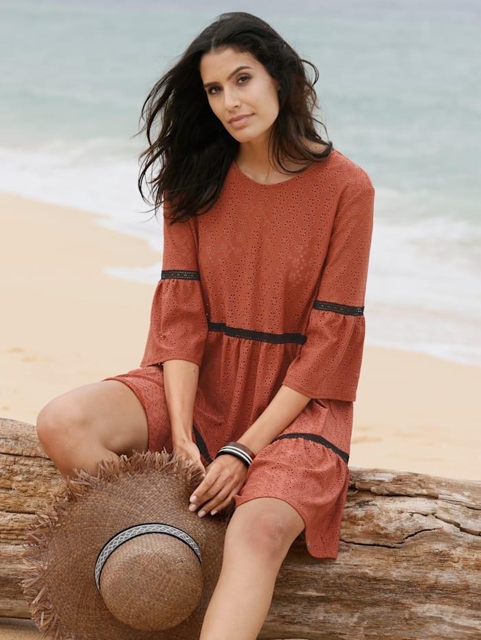 Cybèle Robe de plage entièrement brodée, Rouille