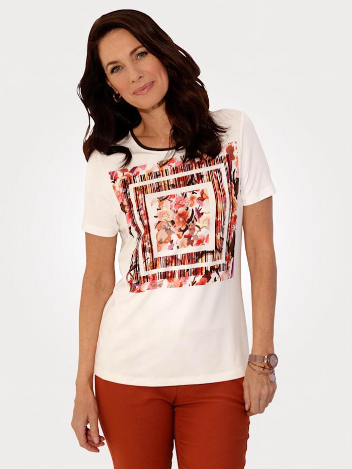 MONA T-shirt à imprimé placé, Écru/Rouille/Rose