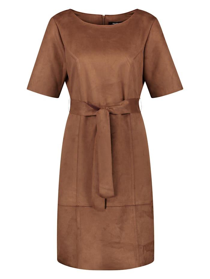 Taifun Kleid mit Veloursleder-Optik, Truffle Brown