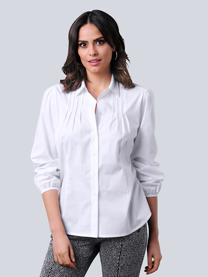Alba Moda Bluse mit effektvoller Biesenverarbeitung, Weiß