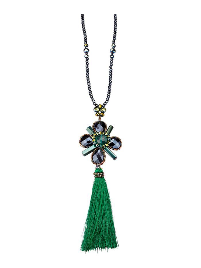 Halskette mit Glasstein, Lila