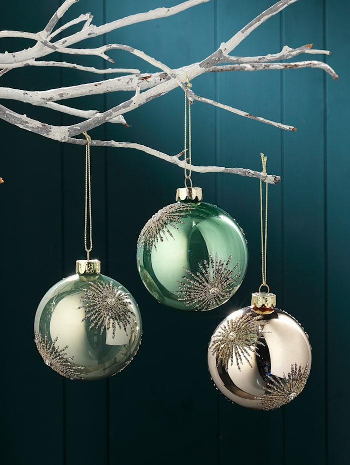 3 julekuler, gullfarget/grønn