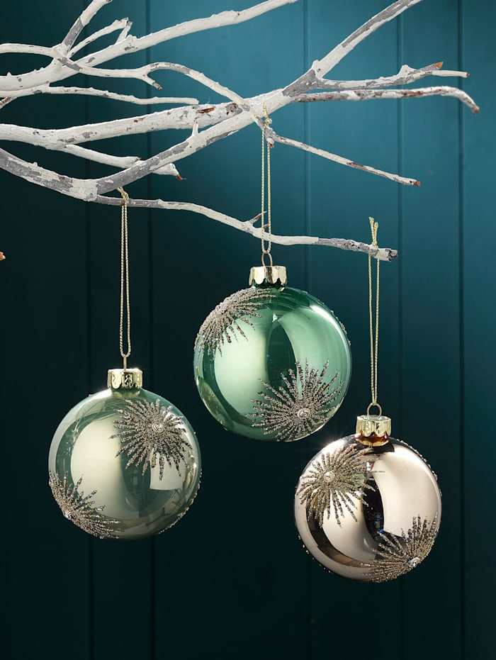 Boules de Noël, 3 pièces, Coloris or/vert