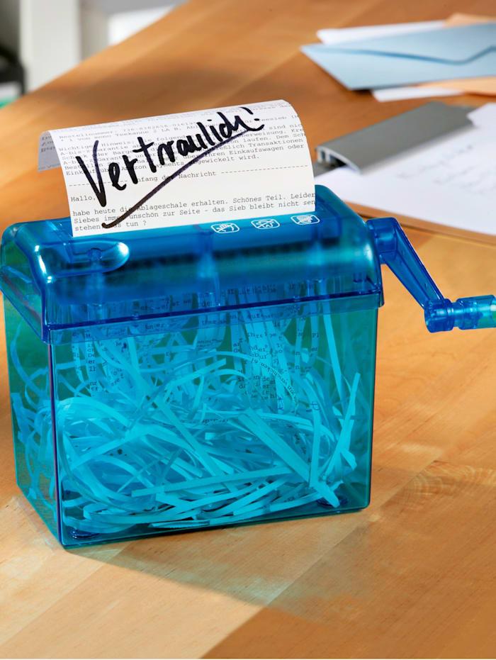 Käsikäyttöinen paperisilppuri, sininen