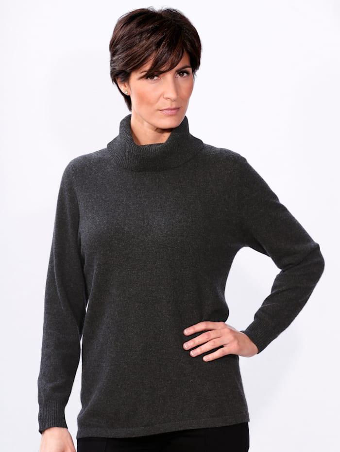 MONA Kaschmir-Pullover mit Stehkragen, Anthrazit
