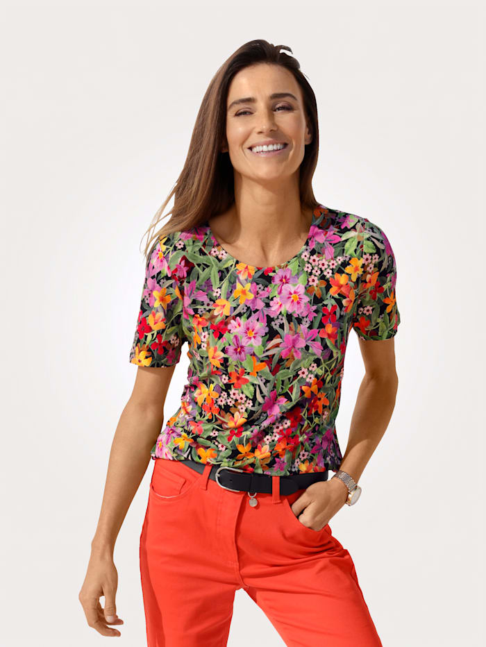 MONA Top with a floral print, Apricot/Pink/Green