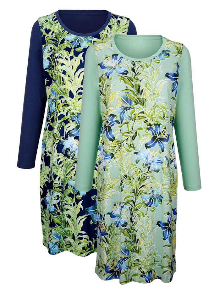 Harmony Chemises de nuit par lot de 2 à imprimé estival, Marine/Vert clair