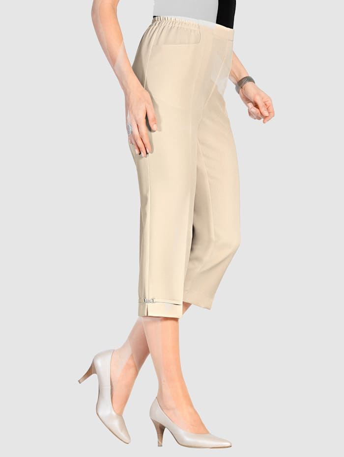 m. collection 7/8 Hose in bequemer Schlupfform, Beige