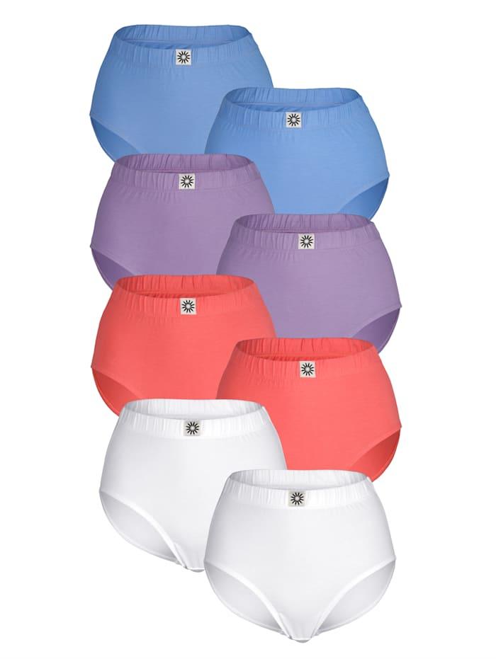 Harmony Taillenslips im 8er-Pack in verschiedenen Farben, Koralle/Lila/Blau/Weiß