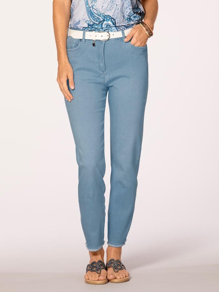 MONA Jeans mit modischer Fransen-Zier, Hellblau