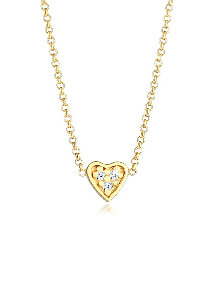 DIAMORE Halskette Herz Liebe Diamant (0.045 Ct.) 375 Gelbgold, Gold