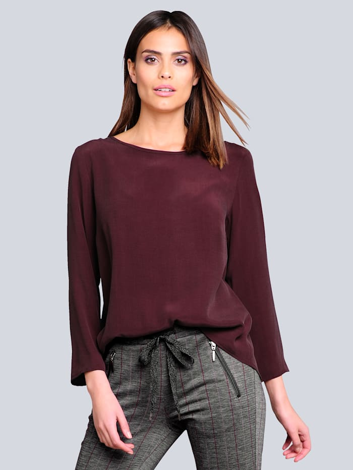 Alba Moda Bluse in samtiger Optik, Bordeaux
