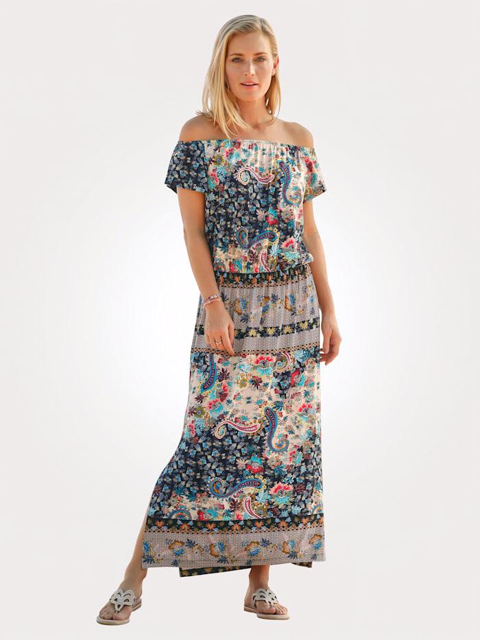 Jerseykleid mit platziertem Paisleydessin