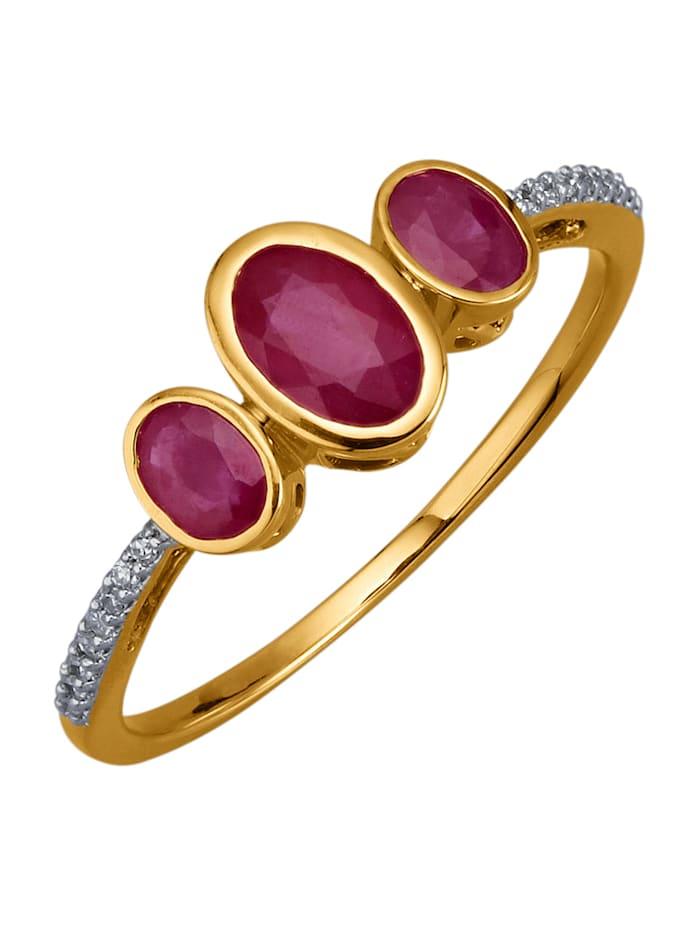 Diemer Farbstein Damenring mit Rubinen und Diamanten, Rot