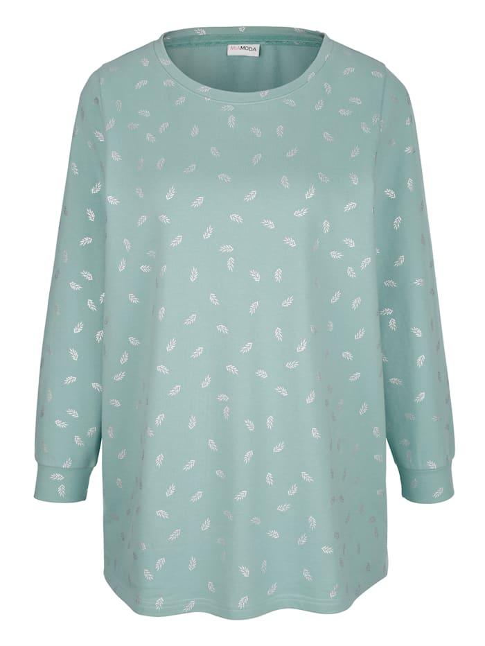 Sweatshirt mit dekorativem Folienprint in Blätteroptik