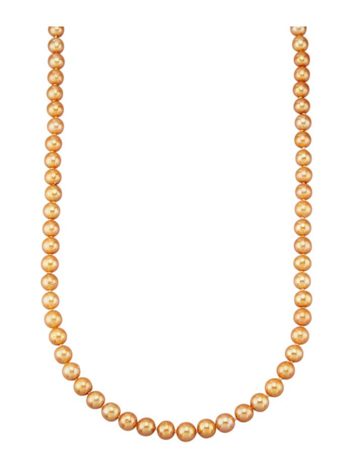 Diemer Perle Süßwasser-Zuchtperlen-Kette mit goldfarbenen Süßwasser-Zuchtperlen, Gelbgoldfarben