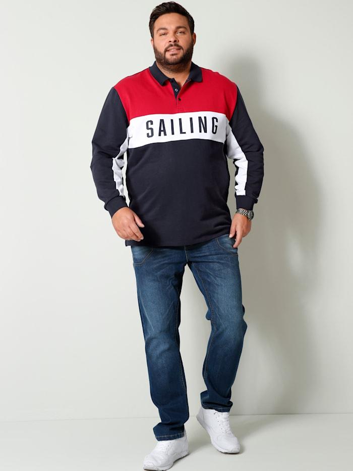 Men Plus Sweatshirt aus reiner Baumwolle, Marineblau/Weiß