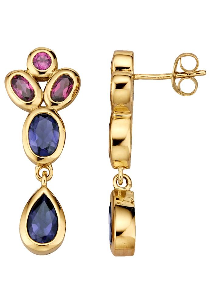 Ohrringe mit Iolith und Rhodolith, Multicolor