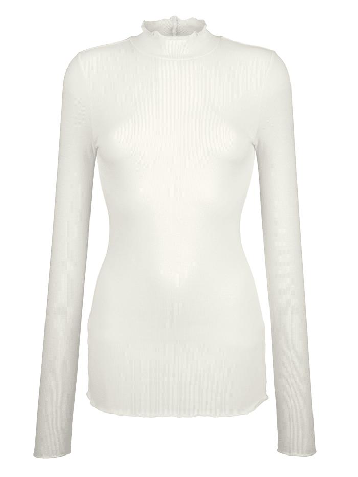 AMY VERMONT Stehbundshirt in Rippenoptik, Off-white