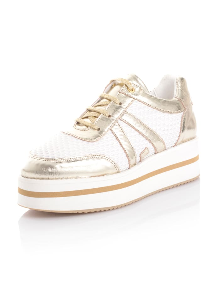 Alba Moda Sneaker in sportiver Form, Weiß/Goldfarben