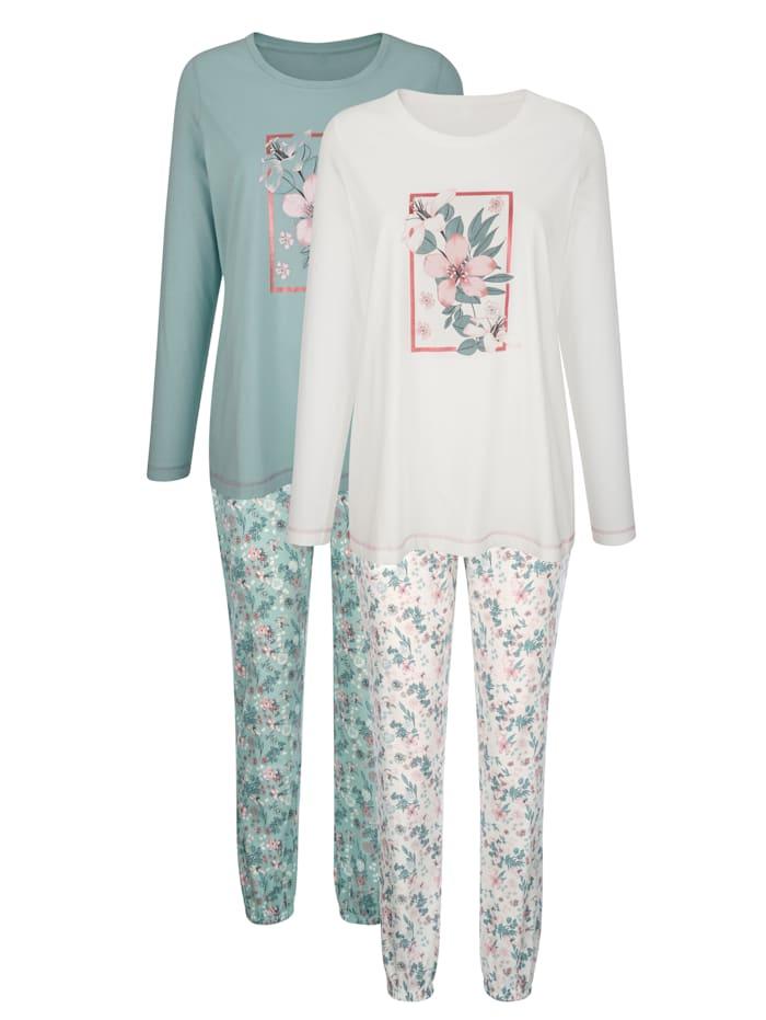 Blue Moon Pyjamas par lot de 2 à motif floral placé, Écru/Jade/Vieux rose