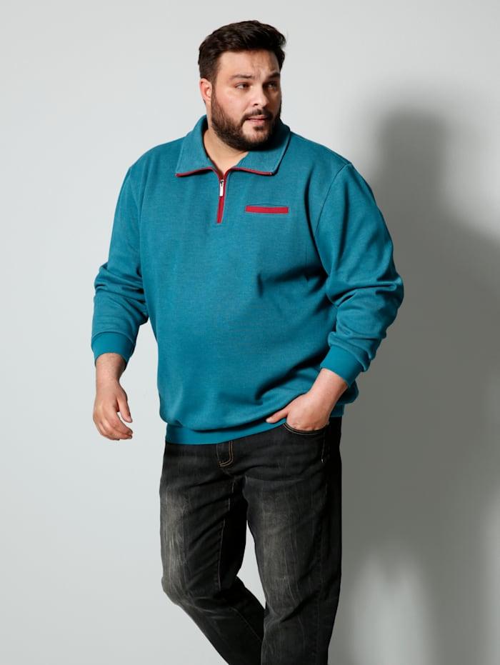 Men Plus Troyer Spezialschnitt, Rauchblau/Rot