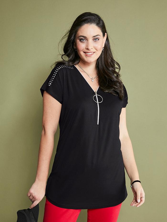 MIAMODA Shirt mit Reißverschluss am Ausschnitt, Schwarz