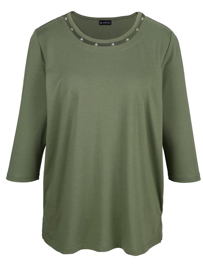 m. collection T-shirt à application de perles à l'encolure ronde, Olive