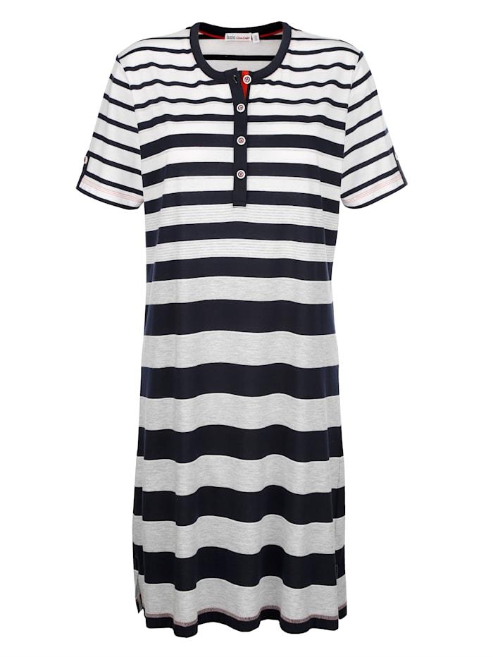 Hajo Nachthemd in hochwertiger Klimafaser-Qualität, Marineblau/Grau/Weiß