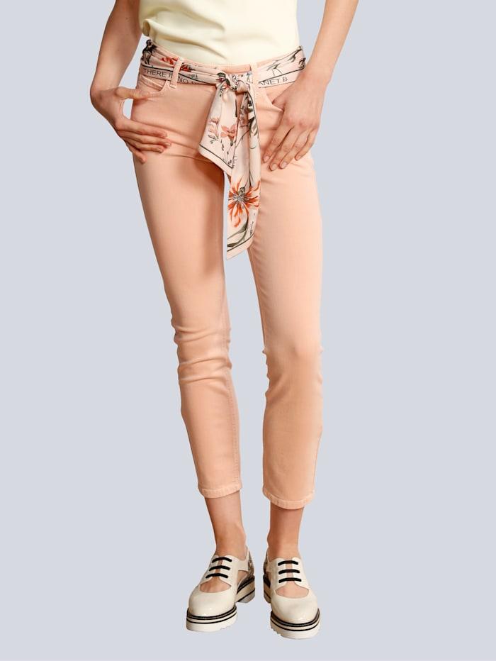 CAMBIO Jeans mit farblich abgestimmten Tuch, Apricot