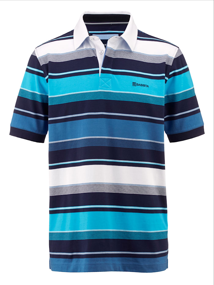 BABISTA Polo à motif rayé devant et dos, Bleu/Blanc