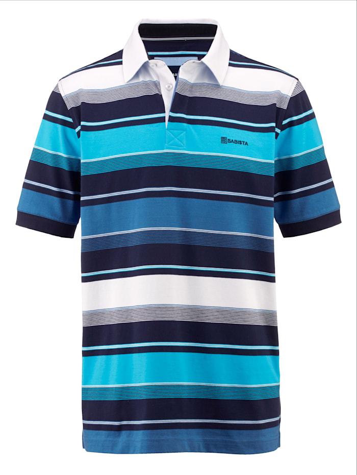 BABISTA Poloshirt met streepdessin rondom, Blauw/Wit