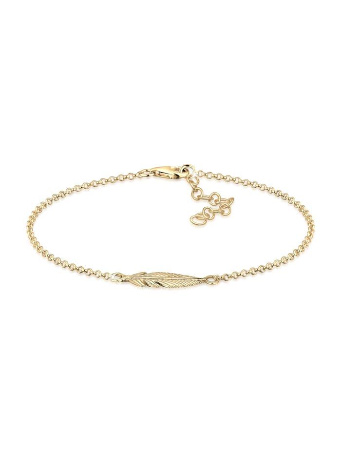 Elli Armband Feder 925 Sterling Silber, Gold