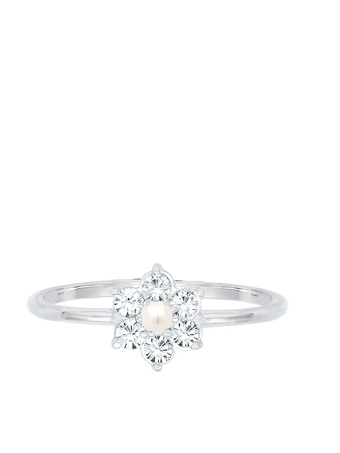 Ring Blume Floral Perle Swarovski® Kristalle 925 Silber