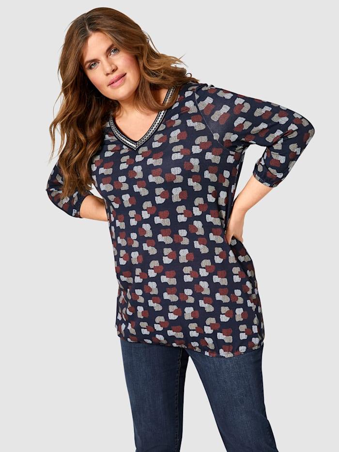 Janet & Joyce Shirt mit Dekoband, Marineblau/Rost