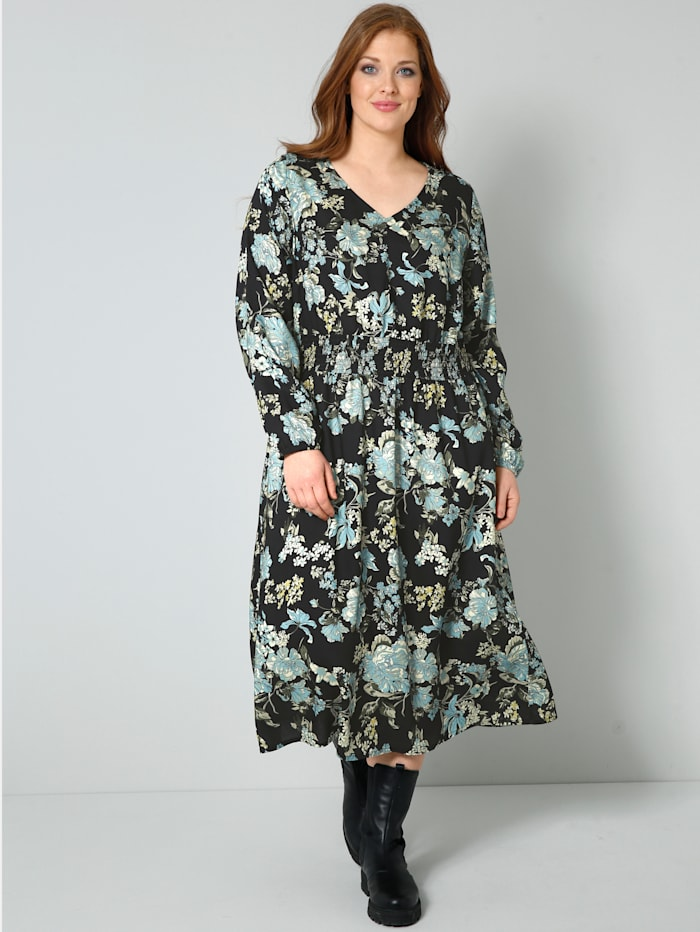 Sara Lindholm Web-Kleid mit floralem Druck, Schwarz