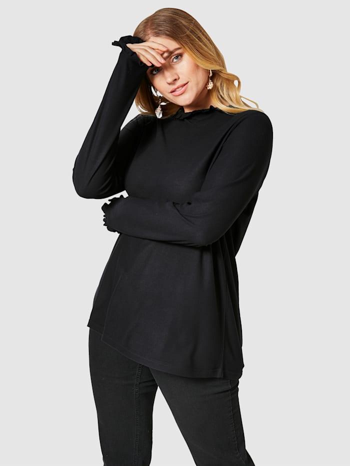 Sara Lindholm Shirt mit Rüschen, Schwarz